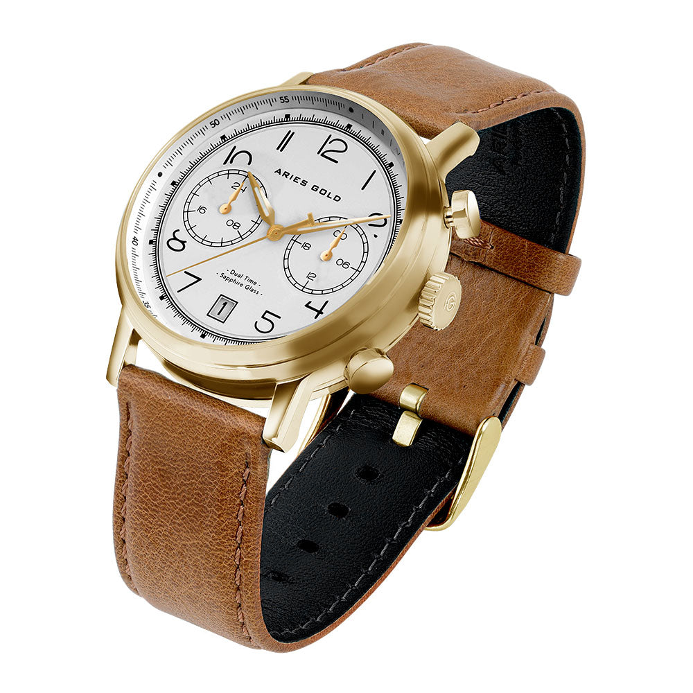 ARIES GOLD URBAN JOURNEY GOLD STAINLESS STEEL G 1025 G-W BROWN LEATHER STRAP MEN'S WATCH