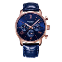 ARIES GOLD URBAN ETERNAL ROSE GOLD STAINLESS STEEL G 103 RG-BU BLUE LEATHER STRAP MEN'S WATCH