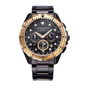 ARIES GOLD CHRONOGRAPH ATLANTIC BLACK STAINLESS STEEL G 7002 BKRG-BK MEN'S WATCH