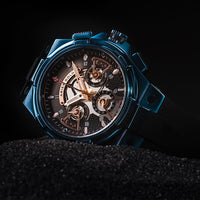 ARIES GOLD ANALOG LIGHTNING BLUE STAINLESS STEEL G 7003 BU-BKRG BLACK RUBBER STRAP MEN'S WATCH