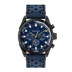 ARIES GOLD ANALOG ENDURO BLACK STAINLESS STEEL G 7006Z BK-BU BLUE LEATHER STRAP MEN'S WATCH