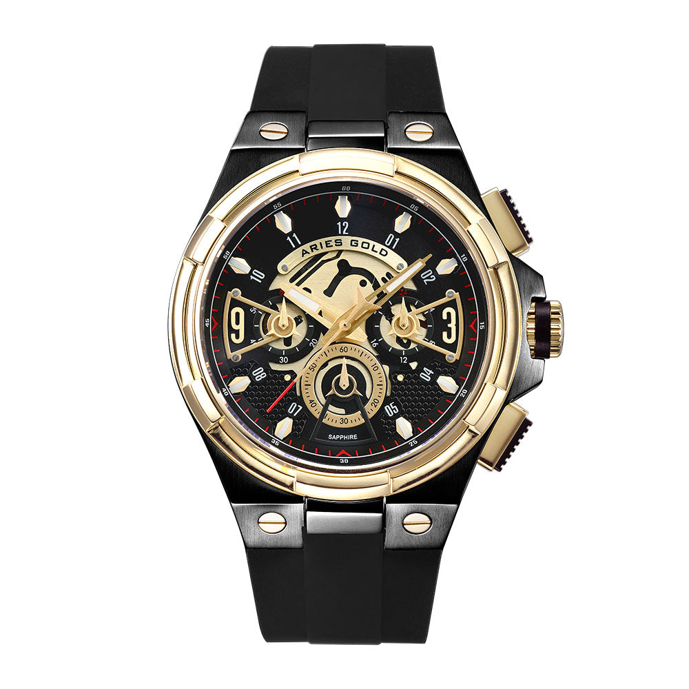 ARIES GOLD ANALOG LIGHTNING GOLD STAINLESS STEEL G 7016 BKG-BKG BLACK RUBBER STRAP MEN'S WATCH