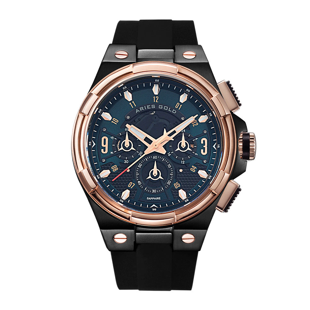 ARIES GOLD ANALOG LIGHTNING ROSE GOLD STAINLESS STEEL G 7016 BKRG-BKGN BLACK RUBBER STRAP MEN'S WATCH