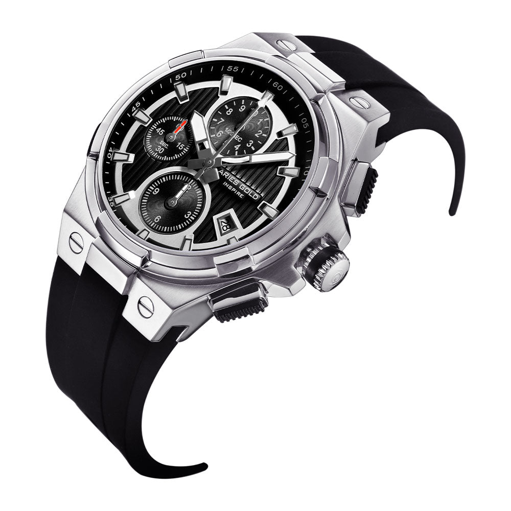 ARIES GOLD KING SILVER STAINLESS STEEL G 7311 S-BKS HI-TECH BLACK SYNTHETIC STRAP MEN'S WATCH