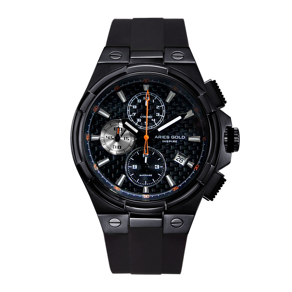 ARIES GOLD MONARCH BLACK STAINLESS STEEL G 7312 BK-BKOR HI-TECH BLACK SYNTHETIC STRAP MEN'S WATCH
