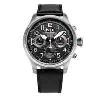 ARIES GOLD CHRONOGRAPH INSPIRE HURRICANE SILVER STAINLESS STEEL G 750A S-BKR BLACK LEATHER STRAP MEN'S WATCH