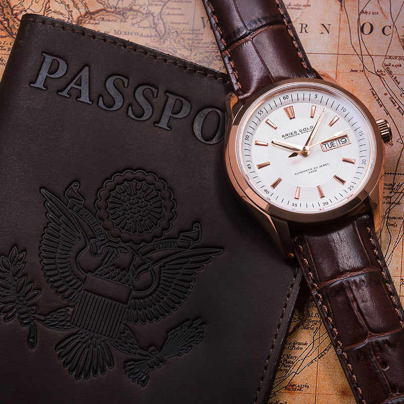 ARIES GOLD AUTOMATIC INFINUM PRESIDENT ROSE GOLD STAINLESS STEEL G 9004 RG-W BROWN LEATHER STRAP MEN'S WATCH