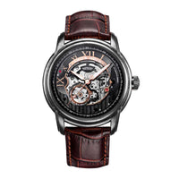ARIES GOLD AUTOMATIC INFINUM EL TORO SILVER STAINLESS STEEL G 9005 AS-BK BROWN LEATHER STRAP MEN'S WATCH