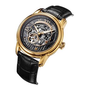 ARIES GOLD AUTOMATIC INFINUM EL TORO GOLD STAINLESS STEEL G 9005 G-BK BLACK LEATHER STRAP MEN'S WATCH