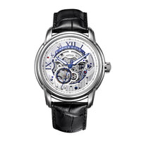 ARIES GOLD AUTOMATIC INFINUM EL TORO SILVER STAINLESS STEEL G 9005 S-S BLACK LEATHER STRAP MEN'S WATCH