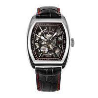 ARIES GOLD AUTOMATIC INFINUM CRUISER SILVER STAINLESS STEEL G 901 S-BKR BLACK LEATHER STRAP MEN'S WATCH