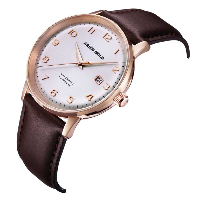 ARIES GOLD AUTOMATIC INFINUM ODYSSEY ROSE GOLD STAINLESS STEEL G 9010 RG-SRG BROWN LEATHER STRAP MEN'S WATCH