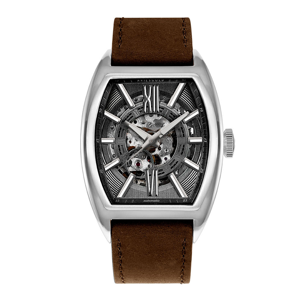 ARIES GOLD AUTOMATIC INFINUM CRUISER SILVER STAINLESS STEEL G 9018 S-GY BROWN LEATHER STRAP MEN'S WATCH