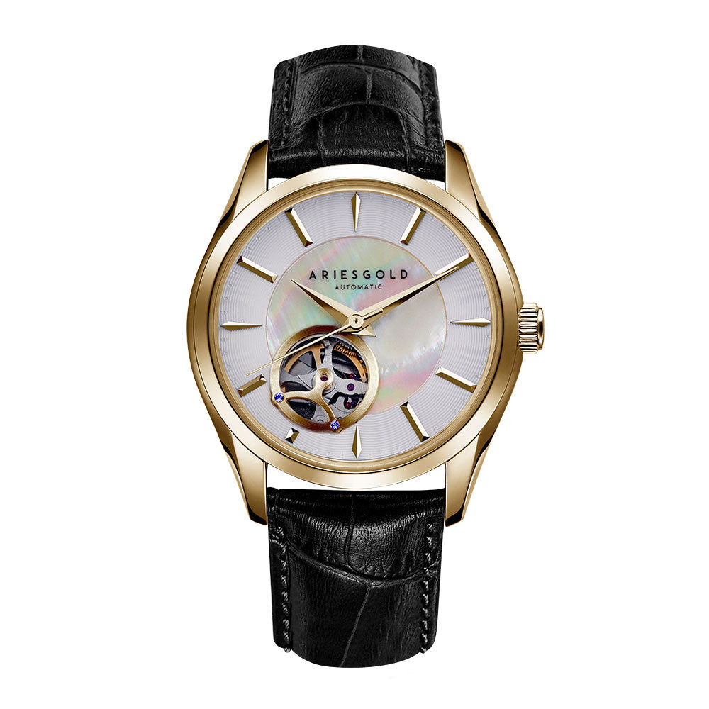 ARIES GOLD AUTOMATIC INFINUM GOLD BLACK LEATHER STRAP L 9023 G-W STAINLESS STEEL WOMEN'S WATCH