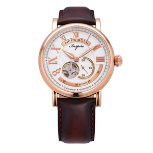 ARIES GOLD AUTOMATIC INSPIRE GAUNTLET VINTAGE ROSE GOLD STAINLESS STEEL G 903 RG-W BROWN LEATHER STRAP MEN'S WATCH