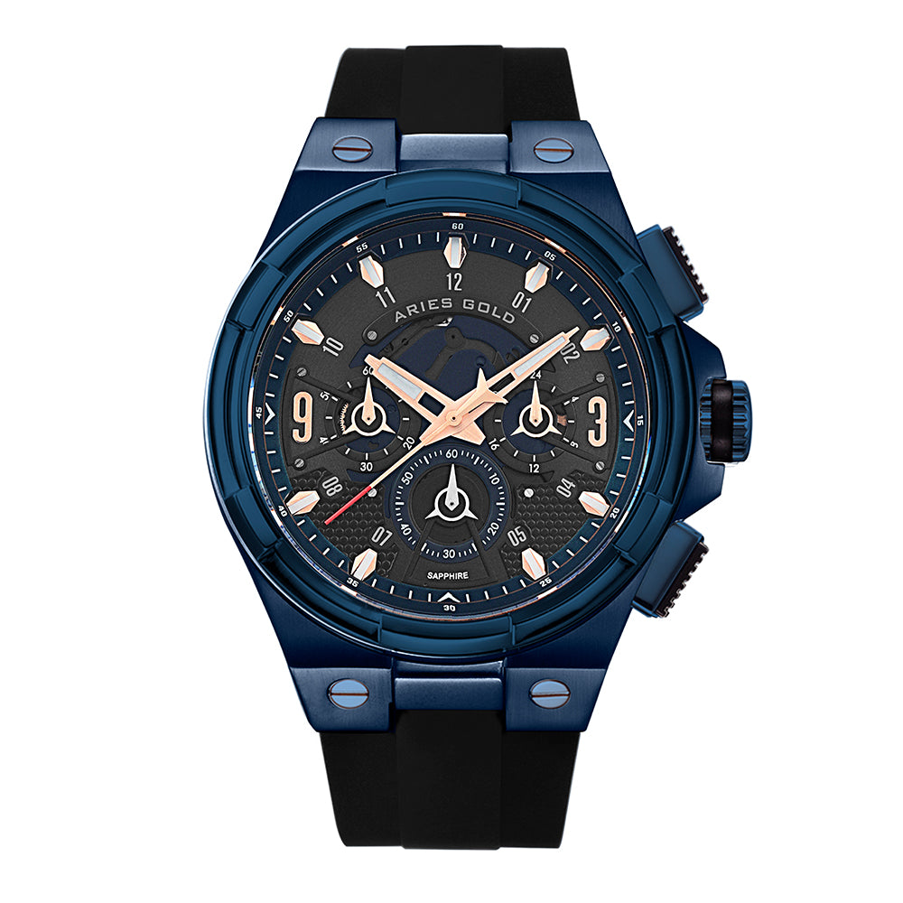 ARIES GOLD ANALOG LIGHTNING BLUE STAINLESS STEEL G7016 BU-BURG BLACK RUBBER STRAP MEN'S WATCH