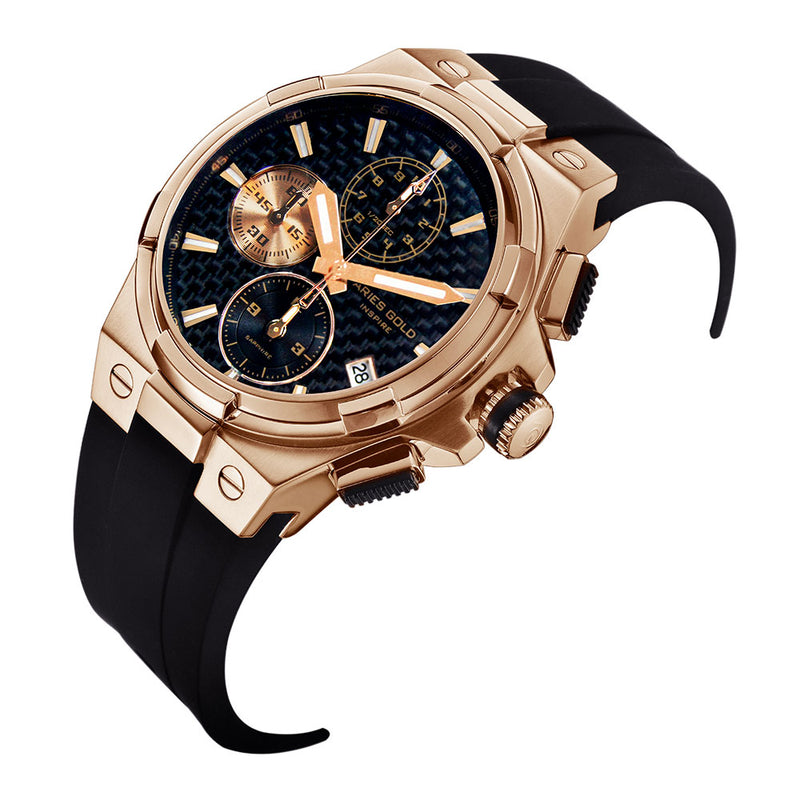 ARIES GOLD MONARCH ROSE GOLD STAINLESS STEEL G 7312 RG-BKRG HI-TECH BLACK SYNTHETIC STRAP MEN'S WATCH