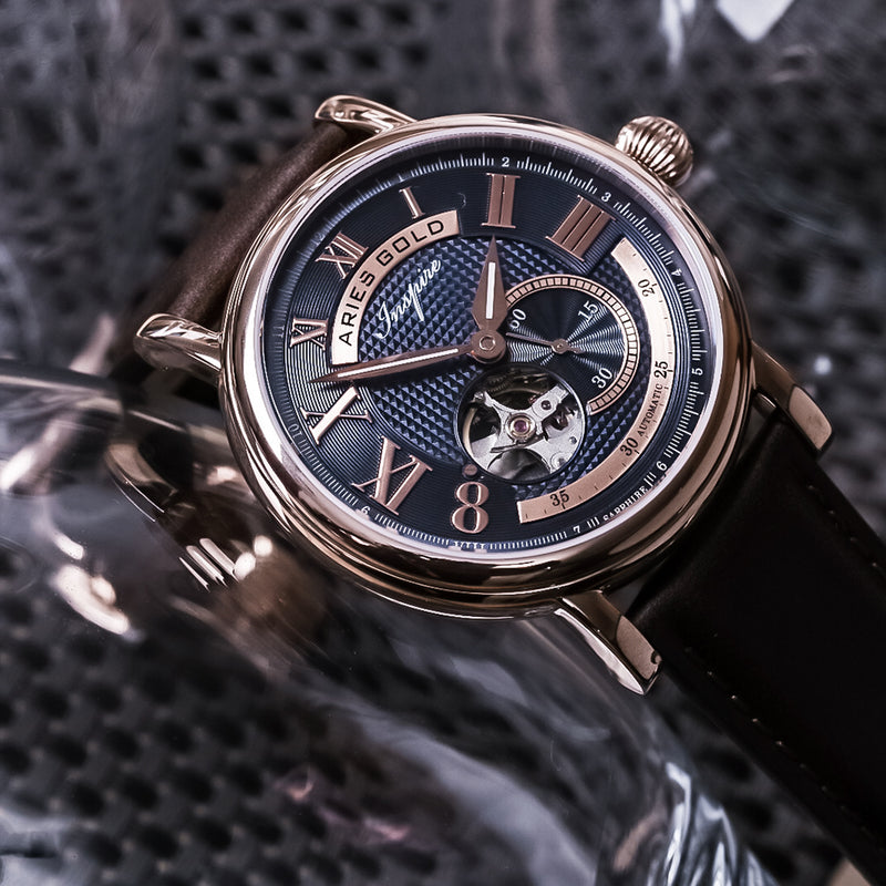 ARIES GOLD AUTOMATIC INSPIRE GAUNTLET VINTAGE ROSE GOLD STAINLESS STEEL G 903 RG-BU BROWN LEATHER STRAP MEN'S WATCH