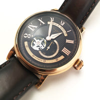 ARIES GOLD AUTOMATIC  INSPIRE GAUNTLET VINTAGE ROSE GOLD STAINLESS STEEL G 903 RG-CF BROWN LEATHER STRAP MEN'S WATCH