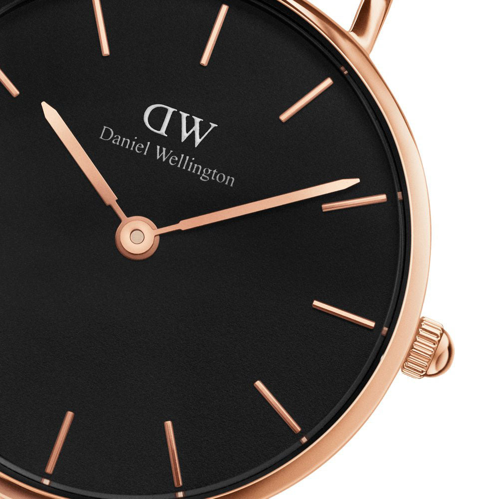181443a99cb3 DANIEL WELLINGTON CLASSIC PETITE SHEFFIELD ROSE GOLD STAINLESS STEEL  DW00100224 BLACK LEATHER STRAP WOMEN S WATCH