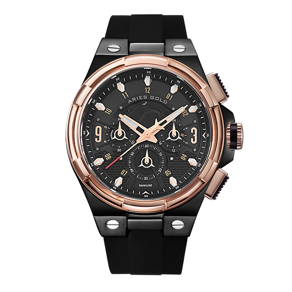 ARIES GOLD ANALOG LIGHTNING ROSE GOLD STAINLESS STEEL G 7016 BKRG-BKRG BLACK RUBBER STRAP MEN'S WATCH