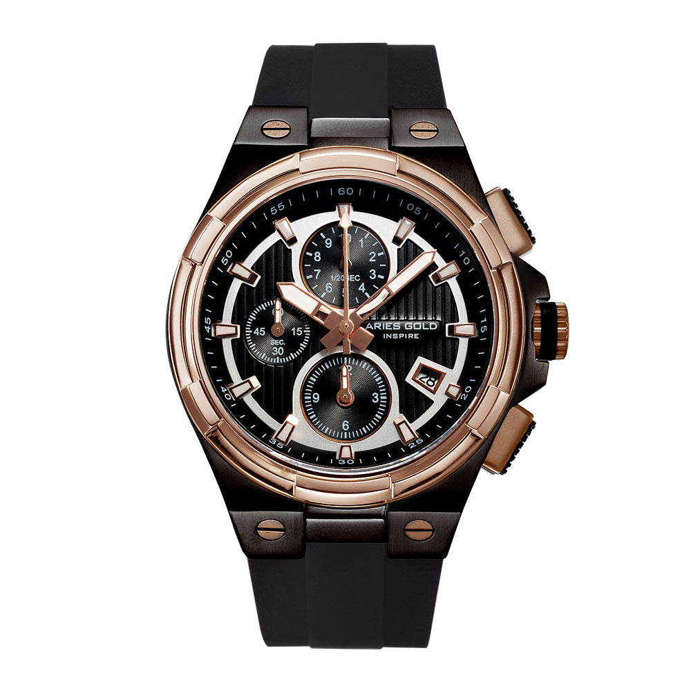 ARIES GOLD KING TWO-TONE STAINLESS STEEL G 7311 BKRG-BKRG HI-TECH BLACK SYNTHETIC STRAP MEN'S WATCH