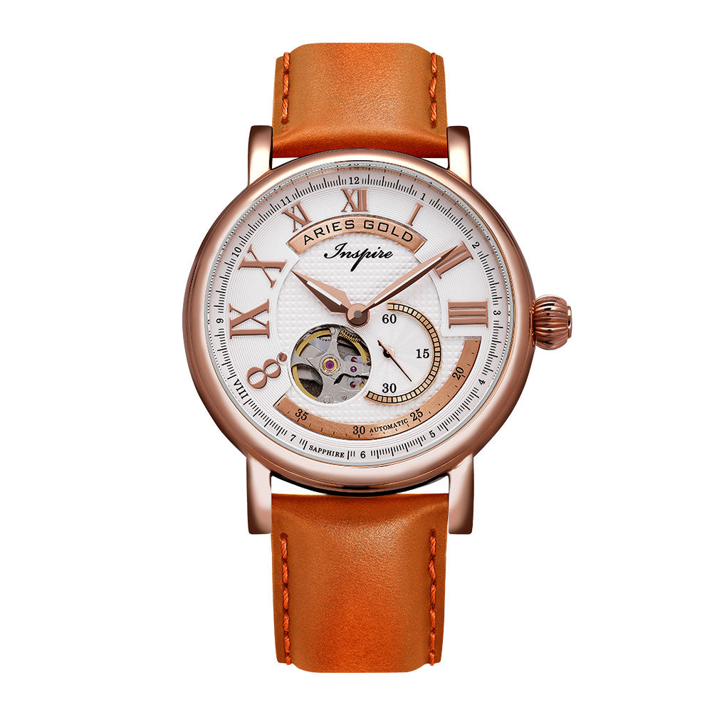 ARIES GOLD AUTOMATIC INSPIRE GAUNTLET VINTAGE ROSE GOLD STAINLESS STEEL G 903A RG-W ORANGE LEATHER STRAP MEN'S WATCH