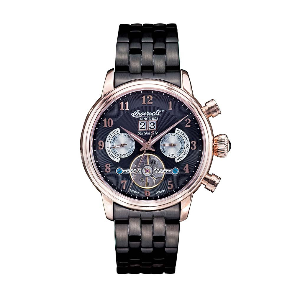 INGERSOLL HARVARD AUTOMATIC SILVER STAINLESS STEEL IN1510RBKM BLACK LEATHER STRAP MEN'S WATCH