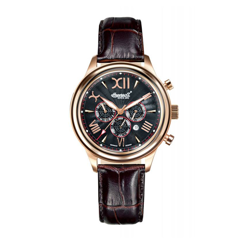INGERSOLL HAIDA AUTOMATIC ROSE GOLD STAINLESS STEEL IN2810RBK BROWN LEATHER STRAP MEN'S WATCH