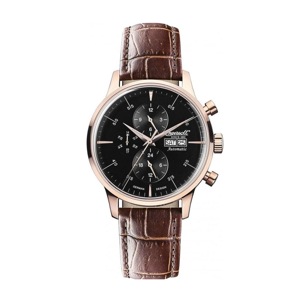 INGERSOLL COLUMBIA NO.1 AUTOMATIC ROSE GOLD STAINLESS STEEL IN2819RBK BROWN LEATHER STRAP MEN'S WATCH