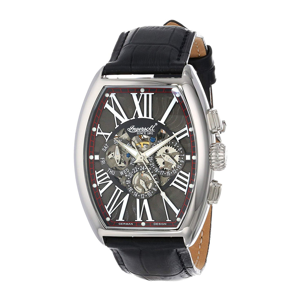 INGERSOLL ARAPAHO AUTOMATIC SILVER STAINLESS STEEL IN3606GY BLACK LEATHER STRAP MEN'S WATCH