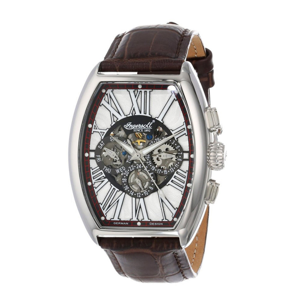 INGERSOLL ARAPAHO AUTOMATIC SILVER STAINLESS STEEL IN3606WH BROWN LEATHER STRAP MEN'S WATCH
