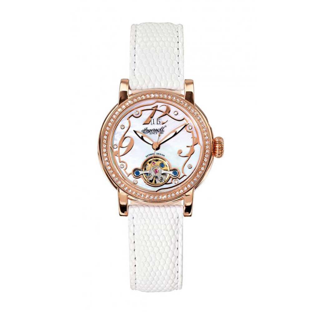 INGERSOLL CONCORD AUTOMATIC ROSE GOLD STAINLESS STEEL IN5005RGWH WHITE LEATHER STRAP LADIES' WATCH