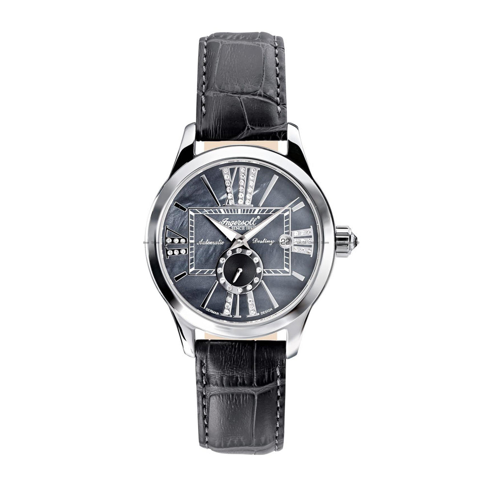 INGERSOLL DESTINY AUTOMATIC SILVER STAINLESS STEEL IN5007GY BLACK LEATHER STRAP LADIES' WATCH