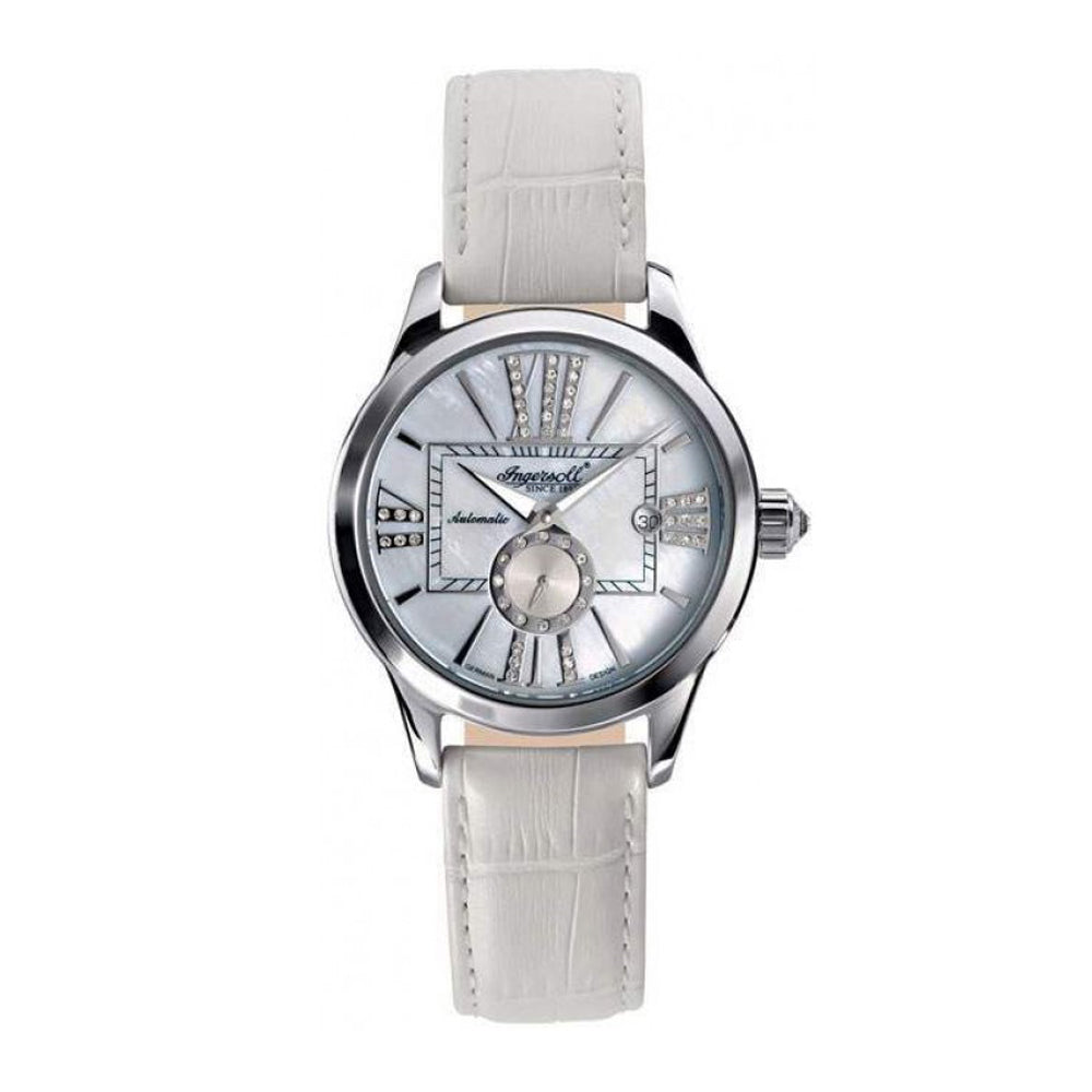 INGERSOLL DESTINY AUTOMATIC SILVER STAINLESS STEEL IN5007WH WHITE LEATHER STRAP LADIES' WATCH