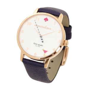 KATE SPADE QUARTZ NEW YORK 5 O'CLOCK METRO GOLD STAINLESS STEEL KSW1040 BLUE LEATHER STRAP WOMEN'S WATCH