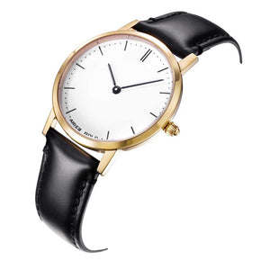 ARIES GOLD URBAN TANGO GOLD STAINLESS STEEL L 1008 G-W BLACK LEATHER STRAP WOMEN'S WATCH
