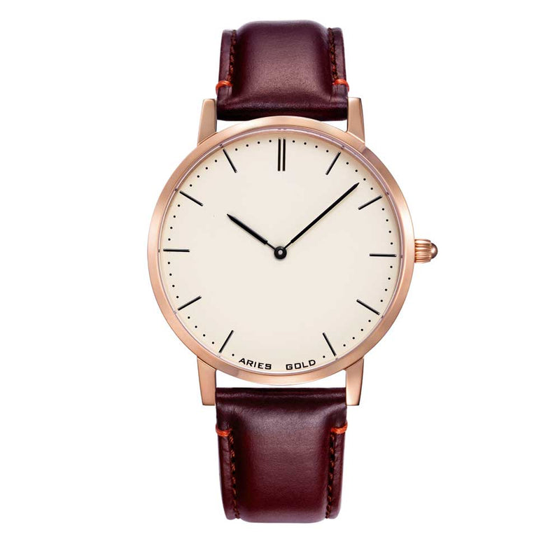 ARIES GOLD URBAN TANGO ROSE GOLD STAINLESS STEEL L 1008 RG-BEI BROWN LEATHER STRAP WOMEN'S WATCH
