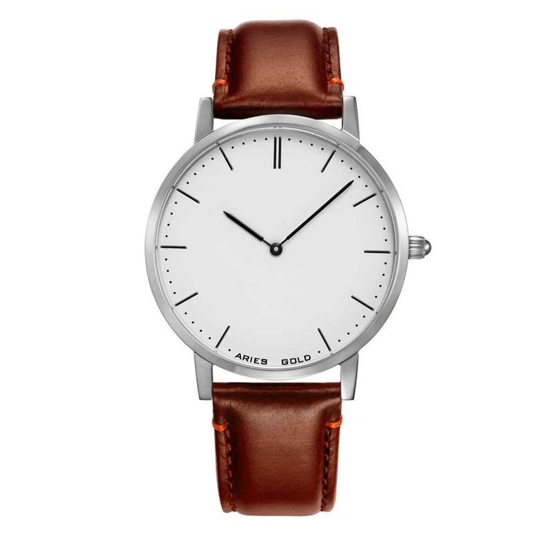 ARIES GOLD URBAN TANGO SILVER STAINLESS STEEL L 1008 S-W BROWN LEATHER STRAP WOMEN'S WATCH