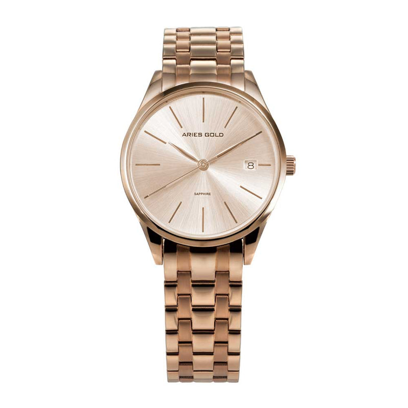 ARIES GOLD PRISM ROSE GOLD STAINLESS STEEL L 1011 RG-RG CERAMIC STRAP WOMEN'S WATCH
