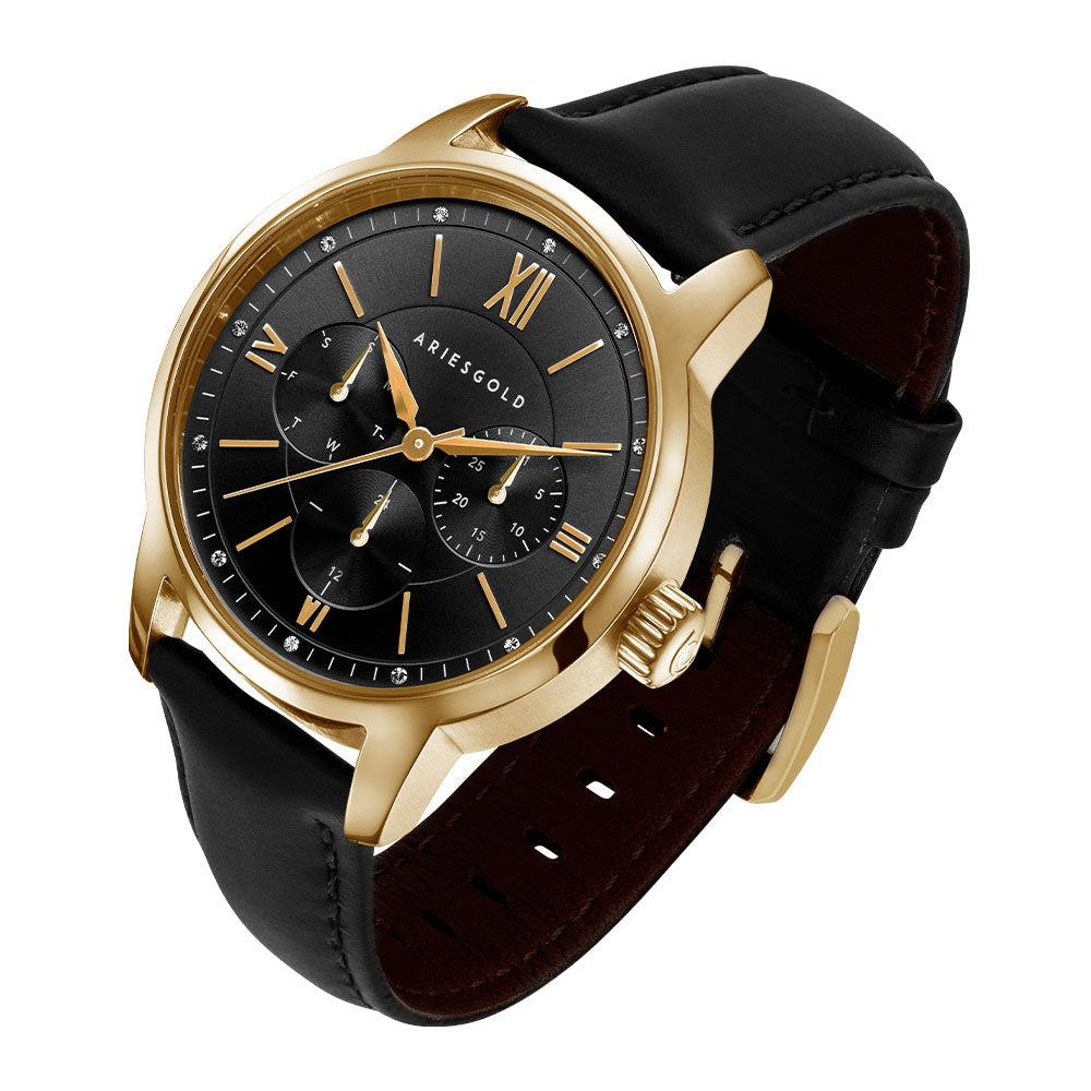 ARIES GOLD URBAN ETERNAL GOLD STAINLESS STEEL L 1028 G-BKG BLACK LEATHER STRAP WOMEN'S WATCH