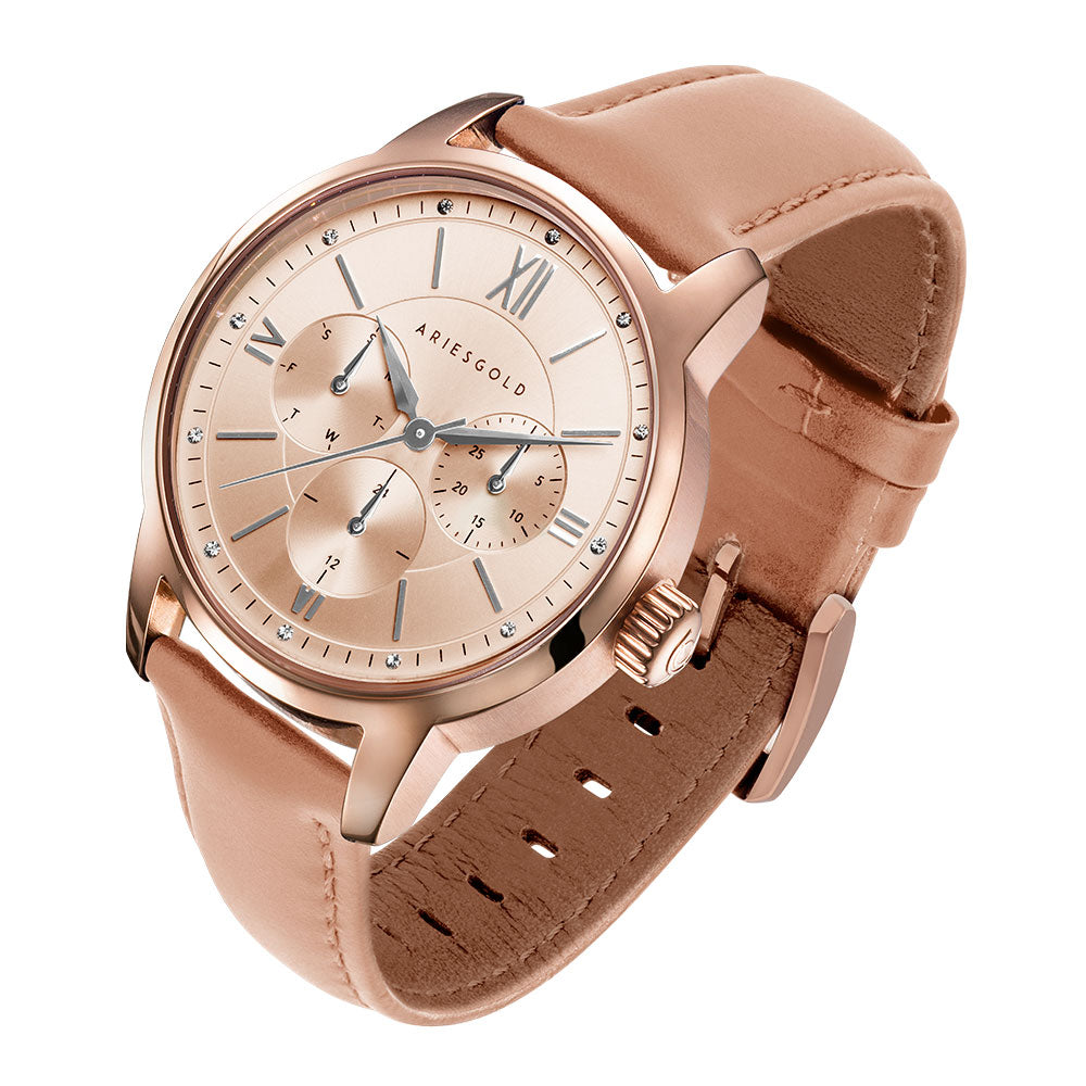 ARIES GOLD URBAN ETERNAL ROSE GOLD STAINLESS STEEL L 1028 RG-BEI DUSTY PINK LEATHER STRAP WOMEN'S WATCH