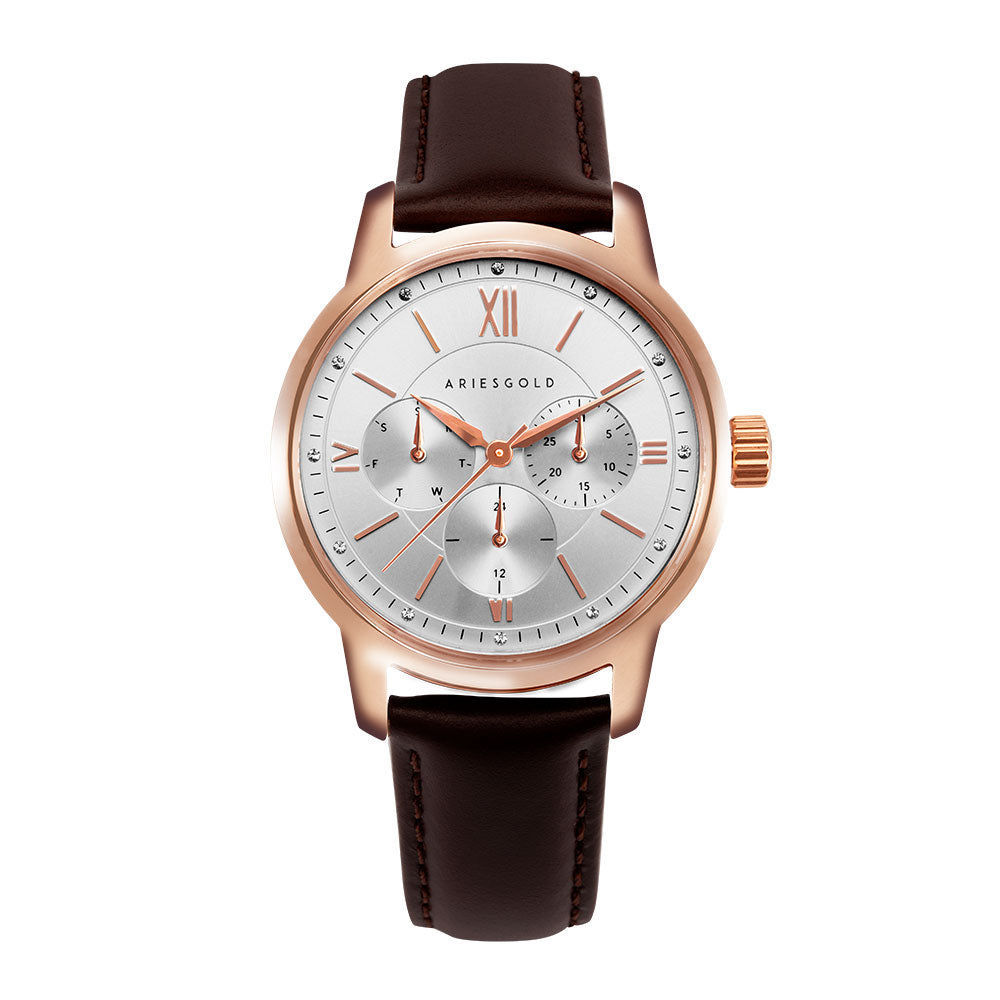 ARIES GOLD URBAN ETERNAL ROSE GOLD STAINLESS STEEL L 1028 RG-S BROWN LEATHER STRAP WOMEN'S WATCH