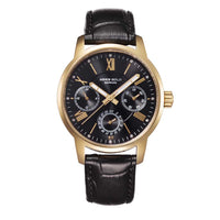 ARIES GOLD URBAN ETERNAL GOLD STAINLESS STEEL L 103 G-BKG BLACK LEATHER STRAP WOMEN'S WATCH