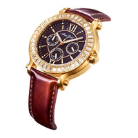 ARIES GOLD ENCHANT ROSA GOLD STAINLESS STEEL L 1159 G-BR BROWN LEATHER STRAP WOMEN'S WATCH