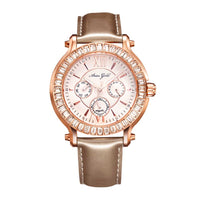 ARIES GOLD ENCHANT ROSA ROSE GOLD STAINLESS STEEL L 1159 RG-W GOLD LEATHER STRAP WOMEN'S WATCH
