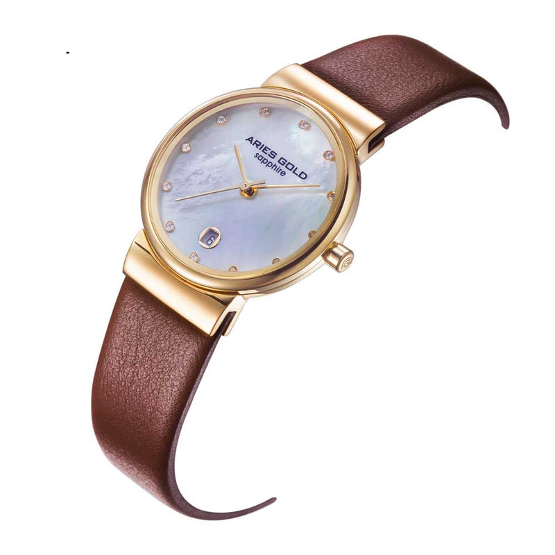 ARIES GOLD ENCHANT CAMILLE GOLD STAINLESS STEEL L 5002 G-MOP-L BROWN LEATHER STRAP WOMEN'S WATCH