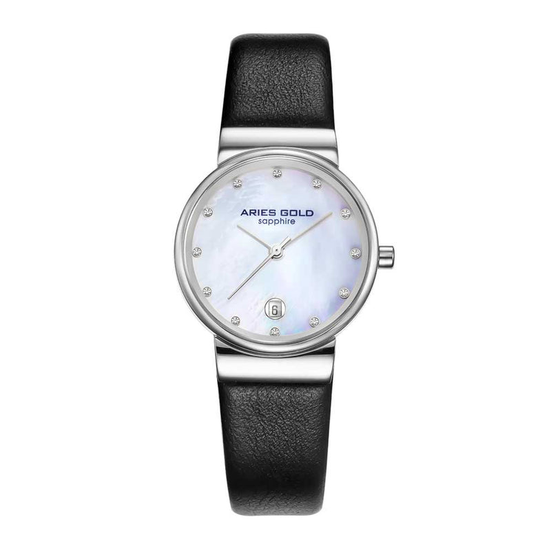 ARIES GOLD ENCHANT CAMILLE SILVER STAINLESS STEEL L 5002 S-MOP-L BLACK LEATHER STRAP WOMEN'S WATCH