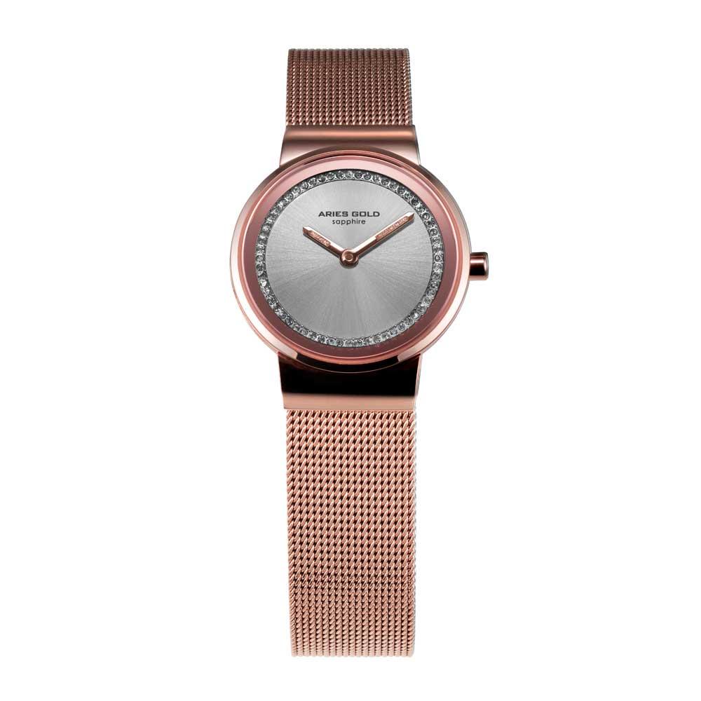 ARIES GOLD ENCHANT SONJA ROSE GOLD STAINLESS STEEL L 5003 RG-S MESH STRAP WOMEN'S WATCH