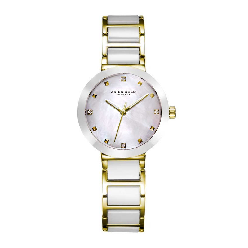 ARIES GOLD ENCHANT PERSIA GOLD STAINLESS STEEL L 5006Z G-MP WHITE CERAMIC WOMEN'S WATCH